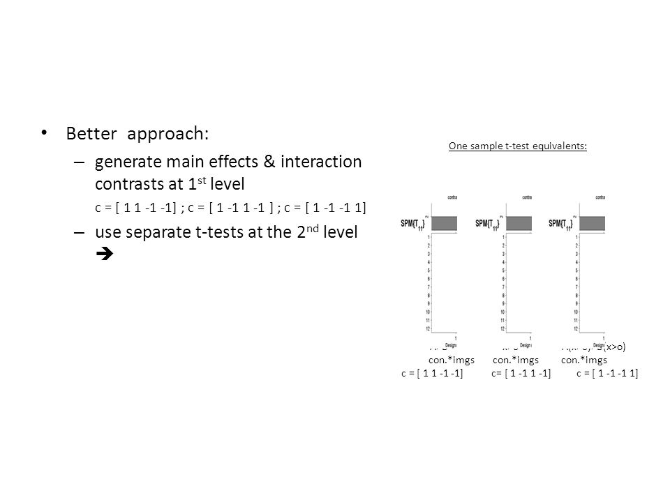 Better approach: generate main effects & interaction contrasts at 1st level. c = [ 1 1 -1 -1] ; c = [ 1 -1 1 -1 ] ; c = [ 1 -1 -1 1]